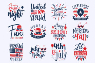 Download Free 4th July Design Bundle Vol 1 Graphic By Subornastudio Creative for Cricut Explore, Silhouette and other cutting machines.