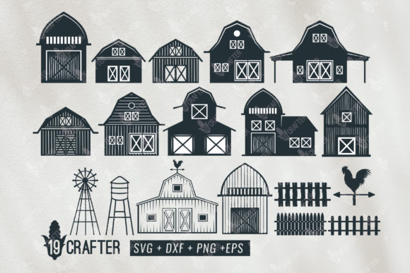 Print on Demand: Barn Clipart Bundle Gráfico Crafts Por great19