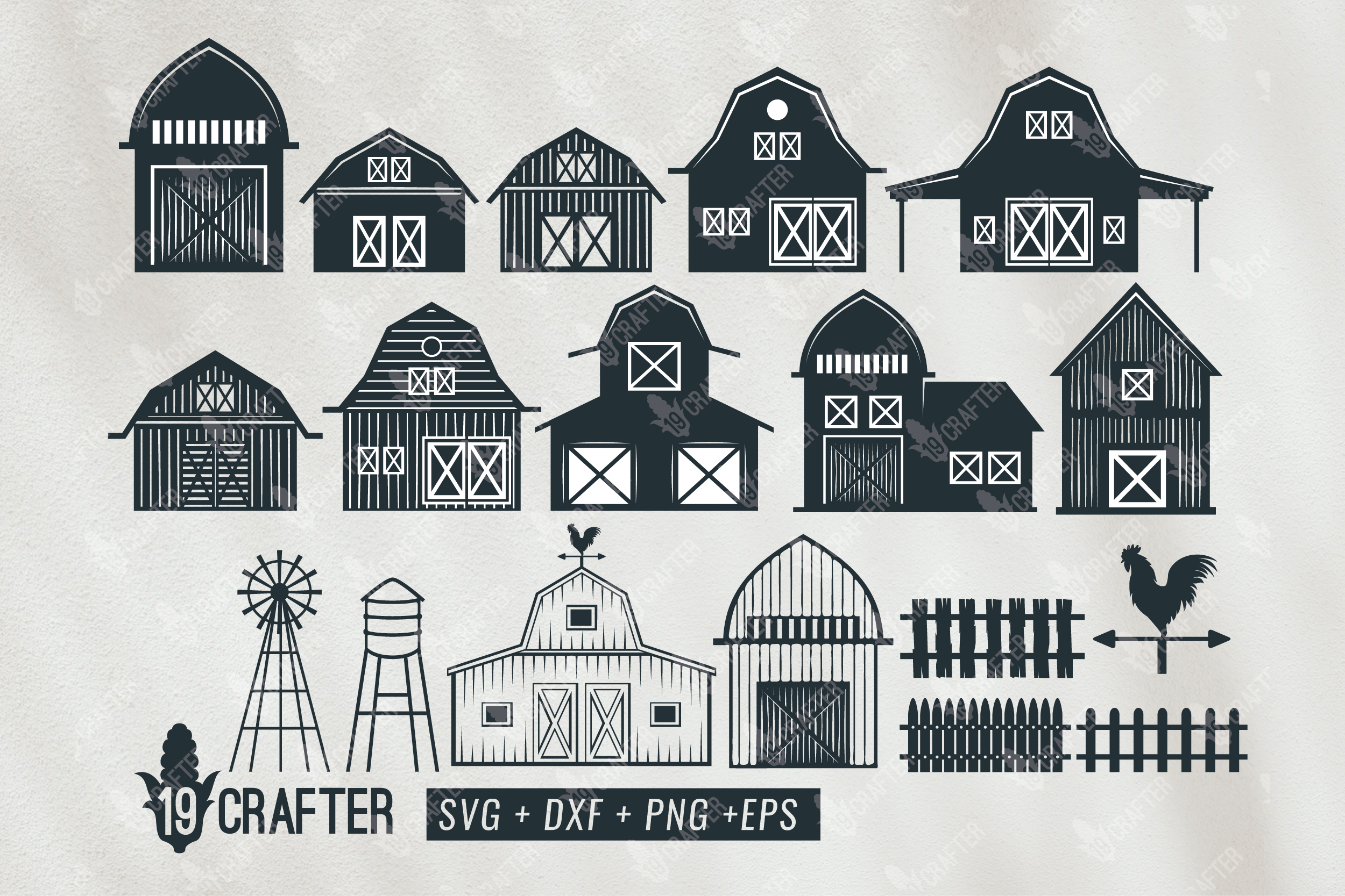 Download Free Barn Clipart Bundle Graphic By Great19 Creative Fabrica for Cricut Explore, Silhouette and other cutting machines.