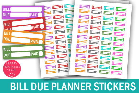 Print on Demand: Bill Due Planner Stickers - Bill Due Graphic Crafts By Happy Printables Club - Image 1