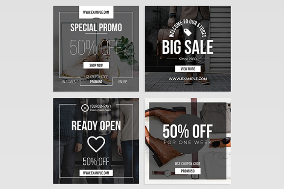 Black and White Sale Social Media Post Graphic Web Elements By bourjart