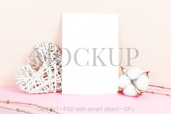 Print on Demand: Card Mockup with Heart & FREE BONUS Graphic Product Mockups By PawMockup