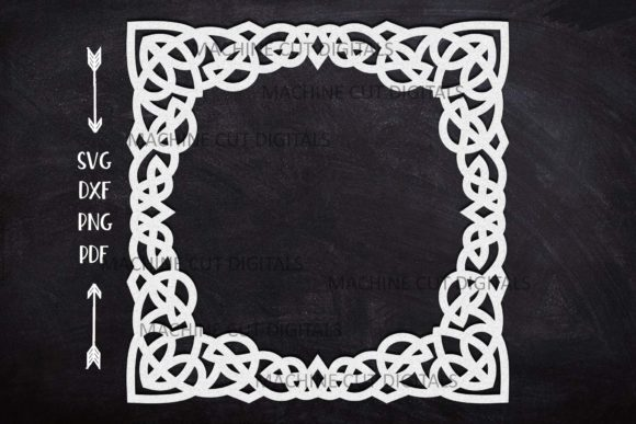 Download Free Celtic Knots Square Frame Laser Cut Graphic By Cornelia for Cricut Explore, Silhouette and other cutting machines.
