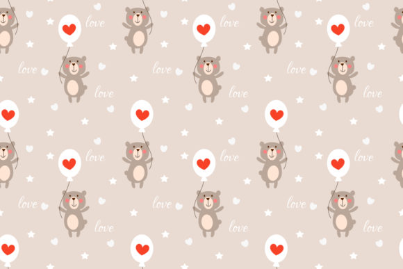 Download Free Cute Bear And Heart Balloon Seamless Graphic By Thanaporn Pinp for Cricut Explore, Silhouette and other cutting machines.