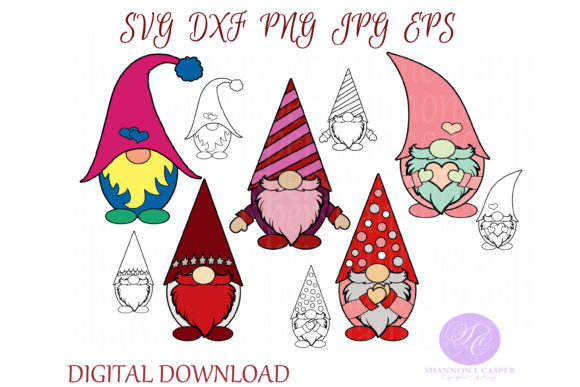 Print on Demand: Gnome Bundle Cut Files and Clip Art Gráfico Ilustraciones Por Shannon Casper