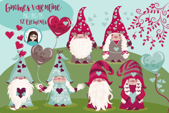 Gnomes Valentines Graphic Illustrations By CuteLittleClipart
