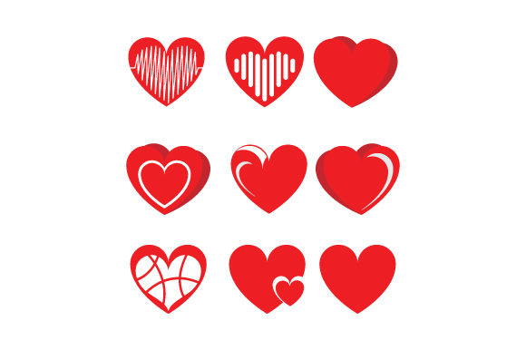 Print on Demand: Heart Shape Collection Graphic Graphic Templates By curutdesign