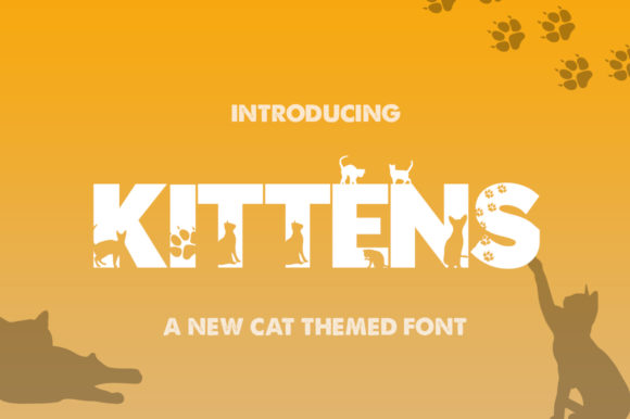 Print on Demand: Kittens Silhouette Sans Serif Schriftarten von Salt & Pepper Designs