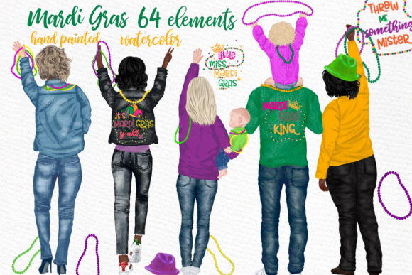 Mardi Gras Clipart, Family Clipart Grafik Illustrationen von LeCoqDesign