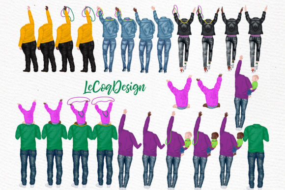 Mardi Gras Clipart, Family Clipart Graphic Illustrations By LeCoqDesign - Image 2