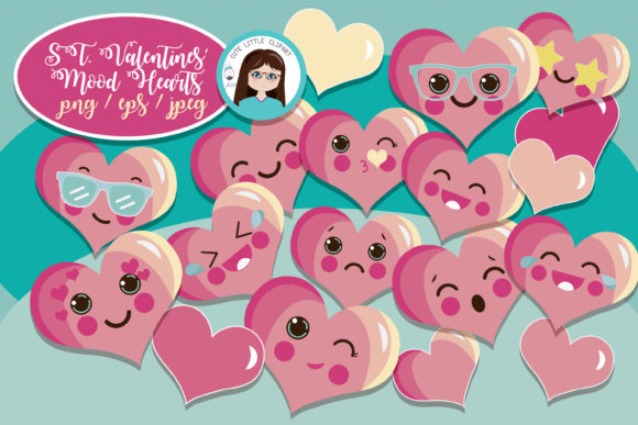 Moody Hearts Graphic Illustrations By CuteLittleClipart - Image 1