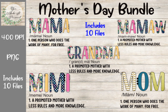 Print on Demand: Mother's Day Bundle, Doodle Font Gráfico Plantillas para Impresión Por You Make It Personal