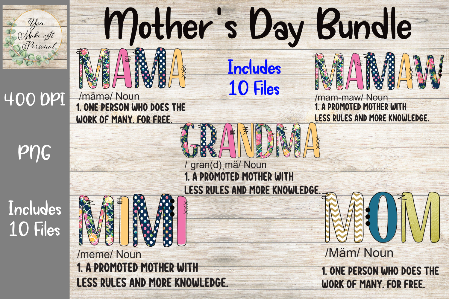 Download Free Mother S Day Bundle Doodle Font Graphic By You Make It Personal for Cricut Explore, Silhouette and other cutting machines.