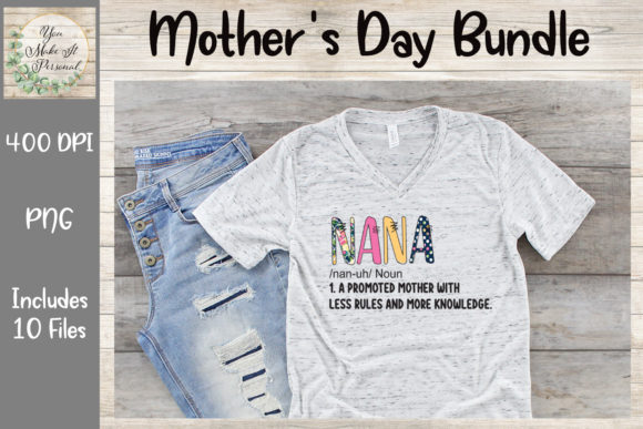 Print on Demand: Mother's Day Bundle, Doodle Font Graphic Print Templates By You Make It Personal - Image 3