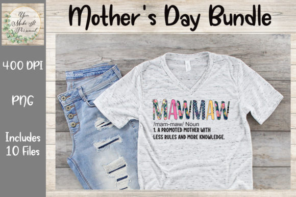 Print on Demand: Mother's Day Bundle, Doodle Font Graphic Print Templates By You Make It Personal - Image 9