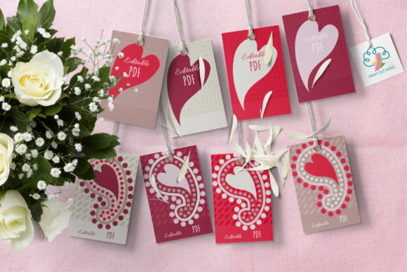 Print on Demand: Paisley and Hearts Valentine Gift Tags Graphic Print Templates By print.cut.hang - Image 1