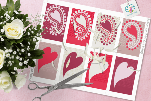Print on Demand: Paisley and Hearts Valentine Gift Tags Graphic Print Templates By print.cut.hang - Image 2