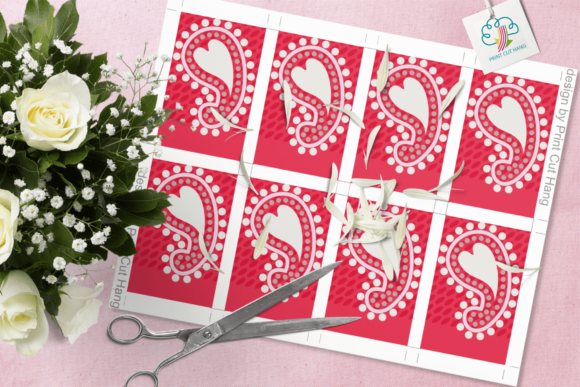 Print on Demand: Paisley and Hearts Valentine Gift Tags Graphic Print Templates By print.cut.hang - Image 3