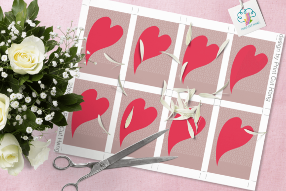 Print on Demand: Paisley and Hearts Valentine Gift Tags Graphic Print Templates By print.cut.hang - Image 4