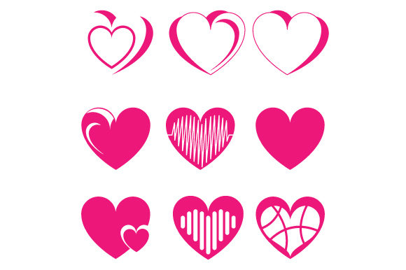 Print on Demand: Pink Heart Shape Collection Graphic Graphic Templates By curutdesign