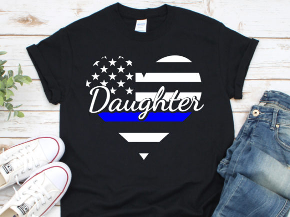 Download Free Police Daughter Heart Thin Blue Line Graphic By Nicetomeetyou for Cricut Explore, Silhouette and other cutting machines.