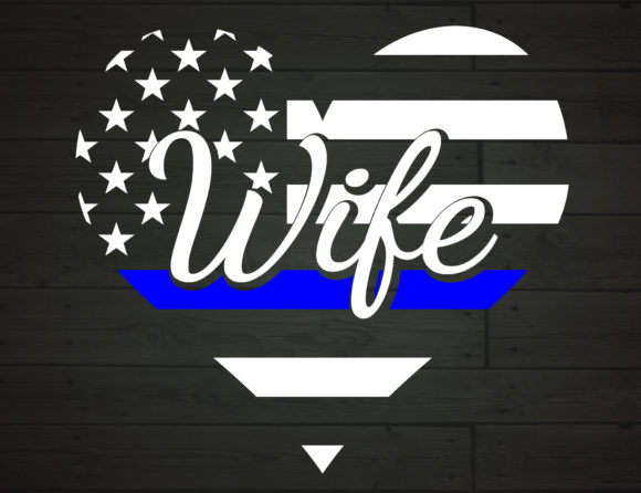Download Free Police Wife Heart The Thin Blue Line Graphic By Nicetomeetyou for Cricut Explore, Silhouette and other cutting machines.