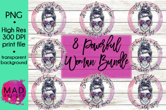 Powerful Woman Floral Sugar Skull Bundle Graphic Crafts By maddesigns718 - Image 1