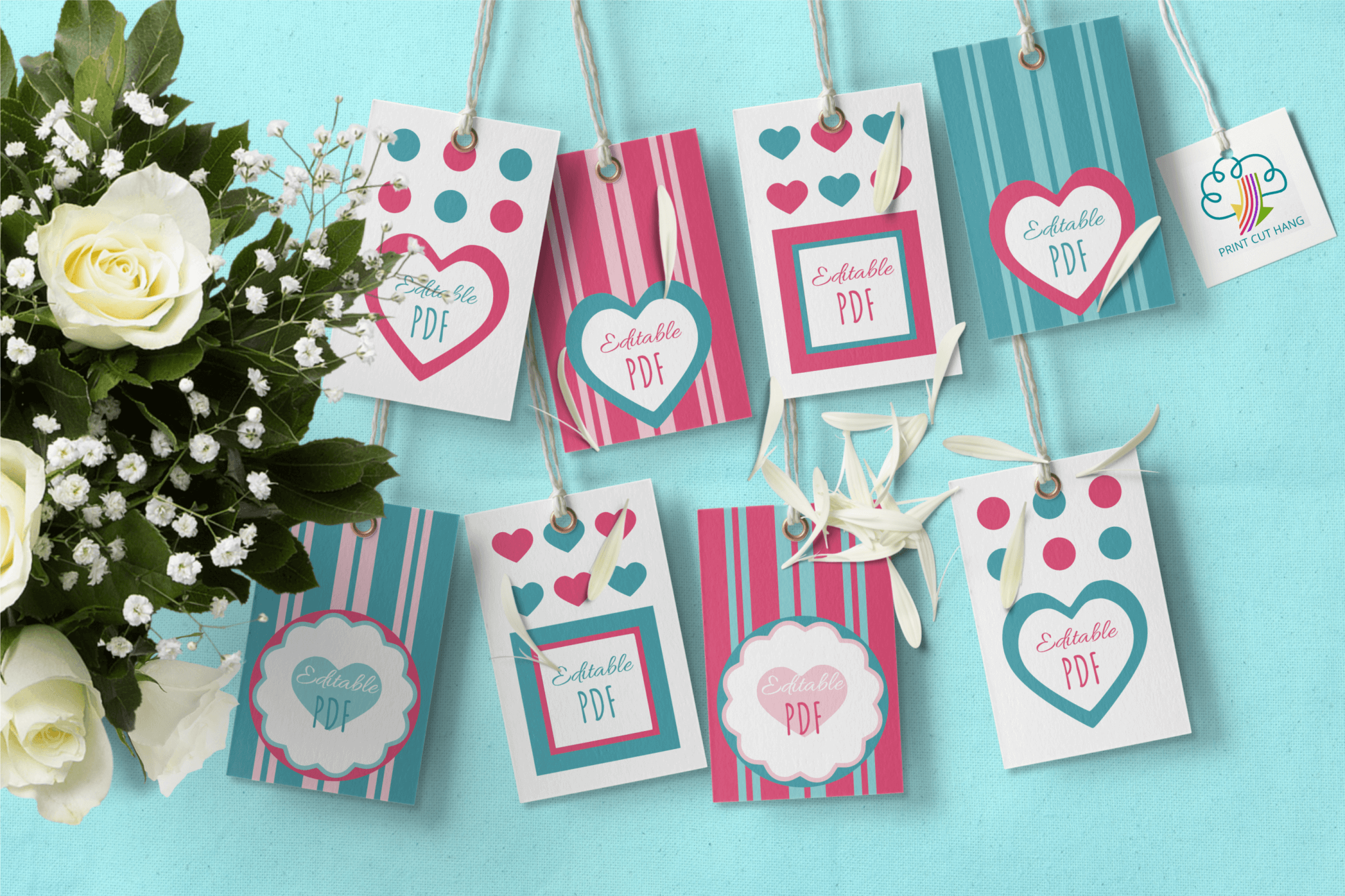 Download Free Printable Valentine Tags Editable Pdf Grafik Von Print Cut Hang for Cricut Explore, Silhouette and other cutting machines.