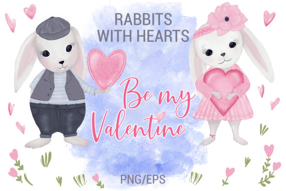 Download Free Rabbits With Hearts Valentine S Day Graphic By Pawstudio for Cricut Explore, Silhouette and other cutting machines.