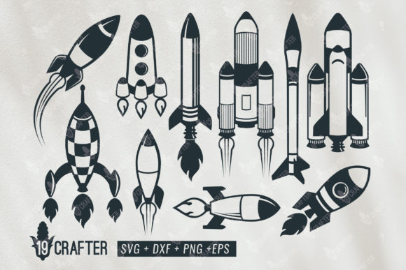 Download Free Rocket Space Craft Bundle Graphic By Great19 Creative Fabrica for Cricut Explore, Silhouette and other cutting machines.