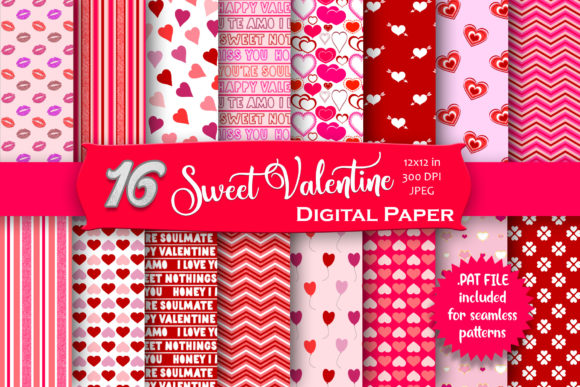 Sweet Valentine Digital Paper Pack Graphic Patterns By MRN Digishop