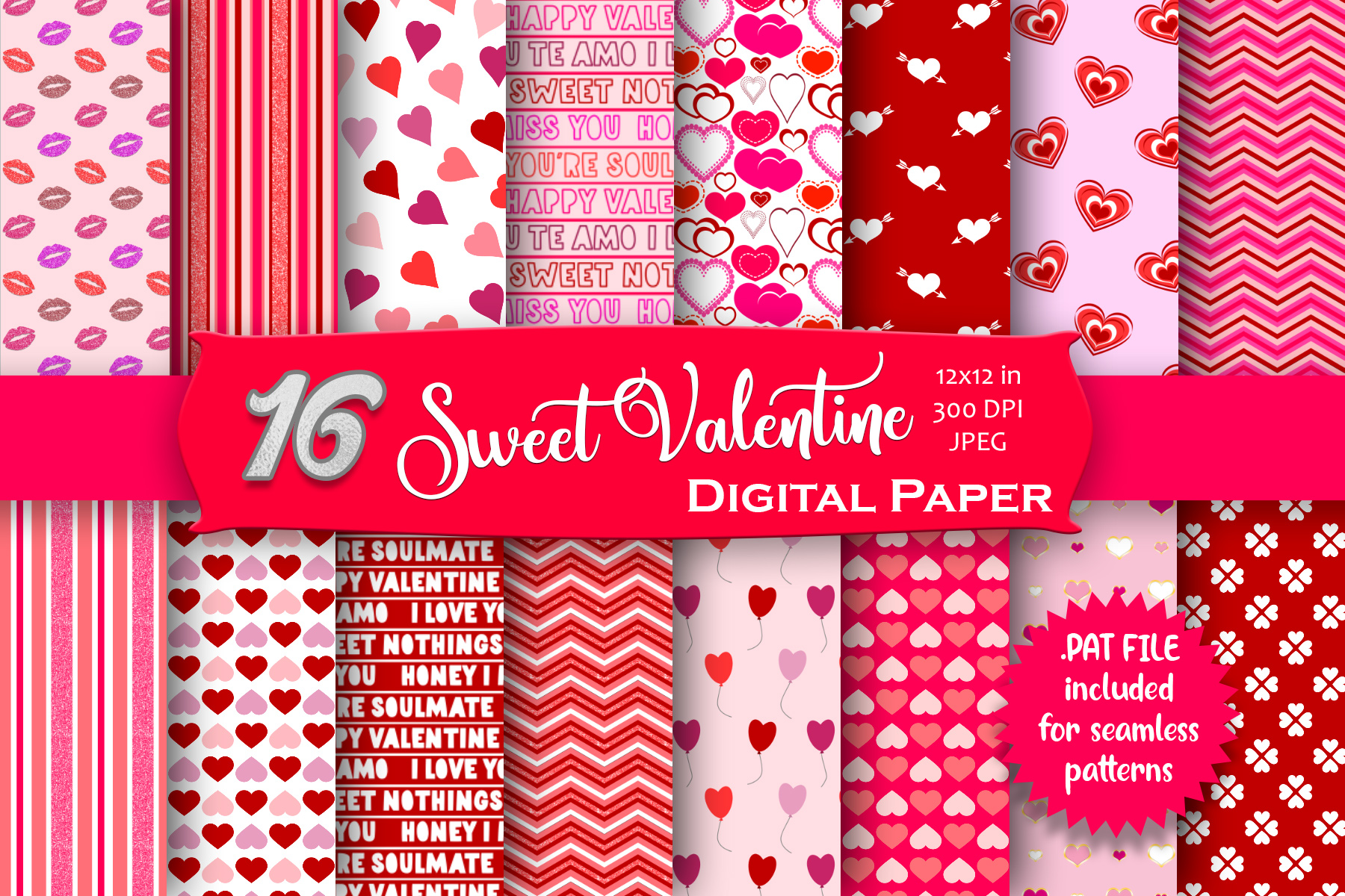 Download Free Sweet Valentine Digital Paper Pack Graphic By Mrn Digishop for Cricut Explore, Silhouette and other cutting machines.
