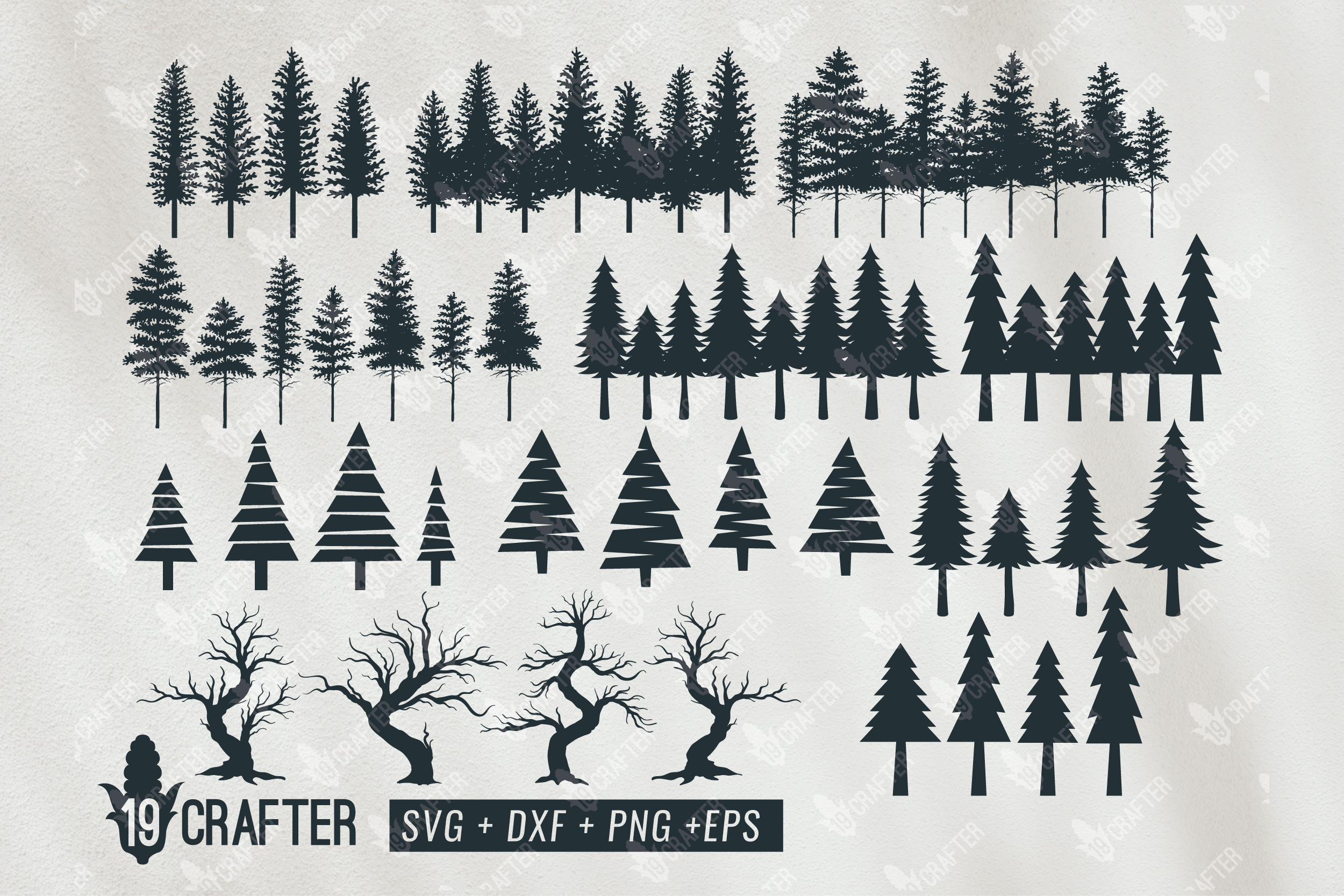 Download Free Tree Forest Pine Tree Forest Bundle Graphic By Great19 for Cricut Explore, Silhouette and other cutting machines.