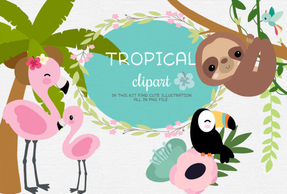 Tropical Clipart Graphic Illustrations By ThePaperOwl