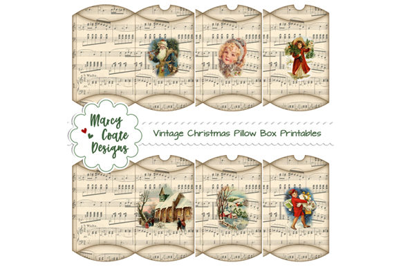Vintage Christmas Pillow Boxes Printable Graphic 3D Pillow Box By MarcyCoateDesigns