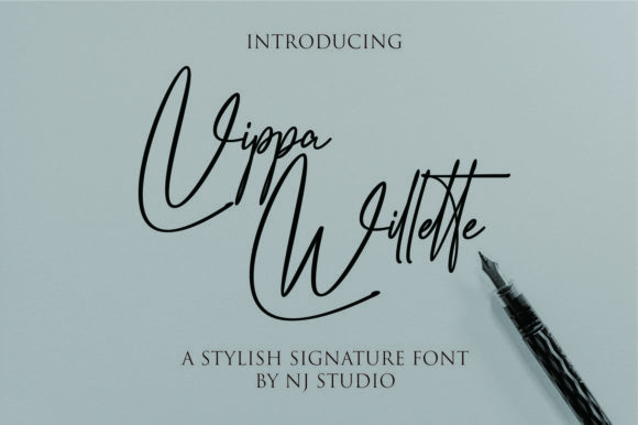 Print on Demand: Vippa Willette Script & Handwritten Font By NJStudio