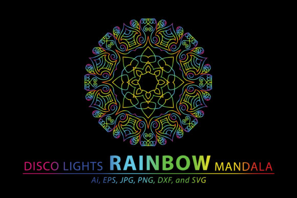 Download Free Disco Lights Rainbow Mandala Vector Graphic By Redsugardesign for Cricut Explore, Silhouette and other cutting machines.