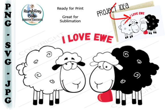 I Love Ewe with Heart Graphic Illustrations By RamblingBoho