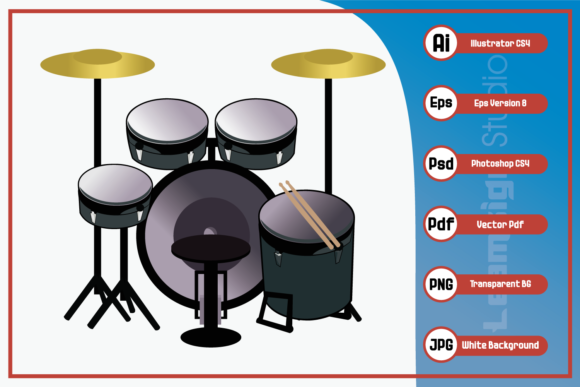 Print on Demand: Illustration Music Drum Set Design Graphic Icons By leamsign