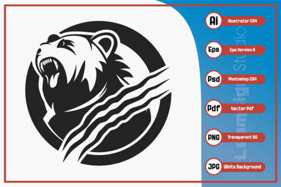 Print on Demand: Strong Bear Head Design Graphic Icons By leamsign