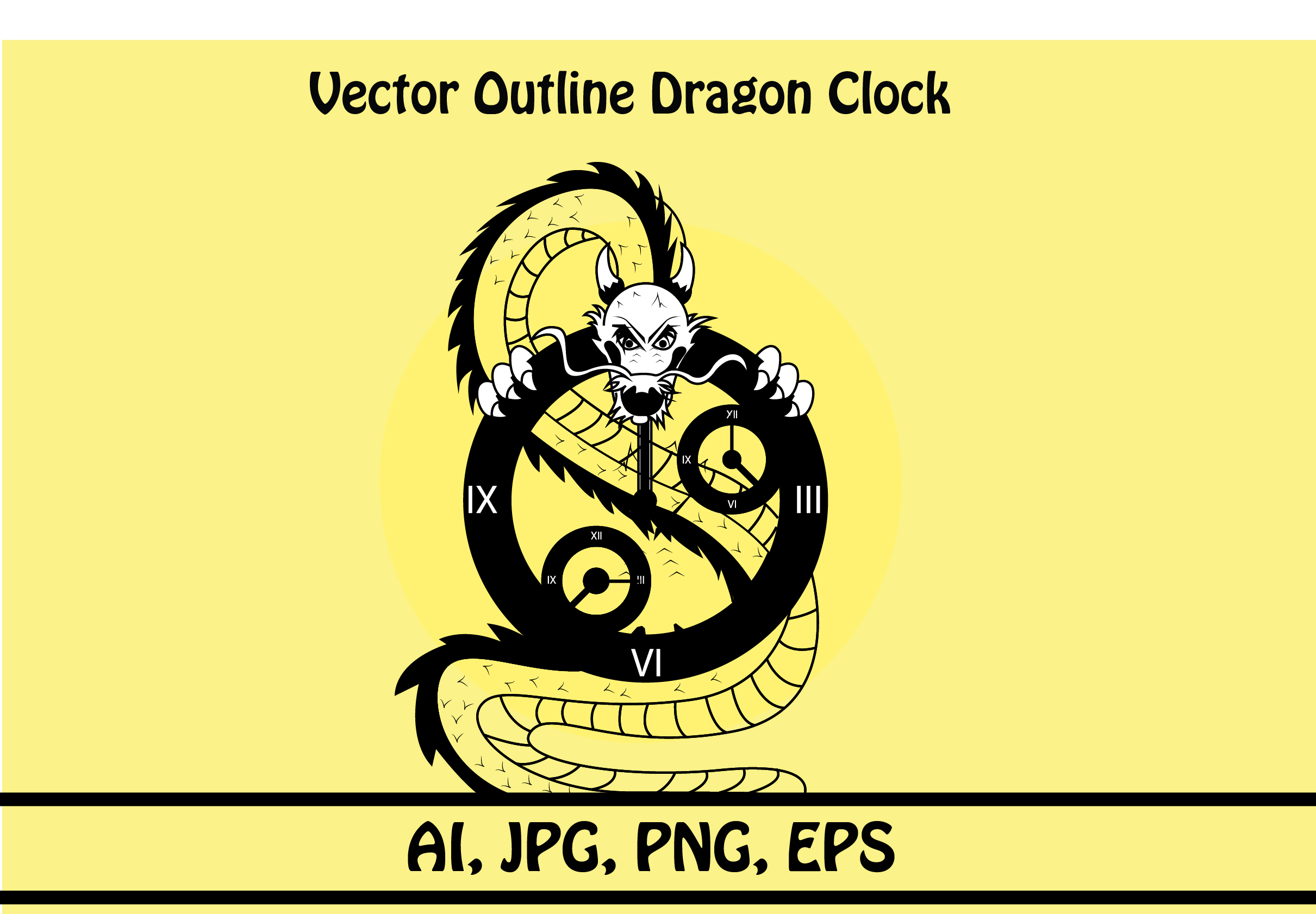 Download Free Vector Outline Dragon Clock Graphic By Rafcreative3 Creative for Cricut Explore, Silhouette and other cutting machines.