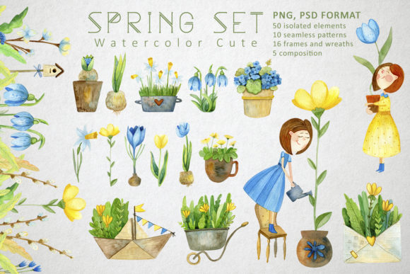 Print on Demand: Watercolor Spring Set Gráfico Ilustraciones Por By Anna Sokol