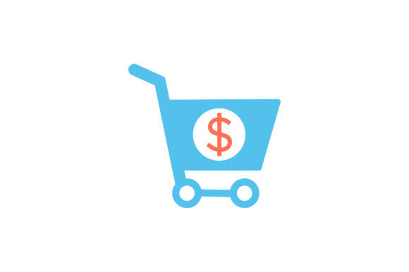 Download Free Dollar With Shopping Cart Flat Icon Graphic By Riduwan Molla for Cricut Explore, Silhouette and other cutting machines.