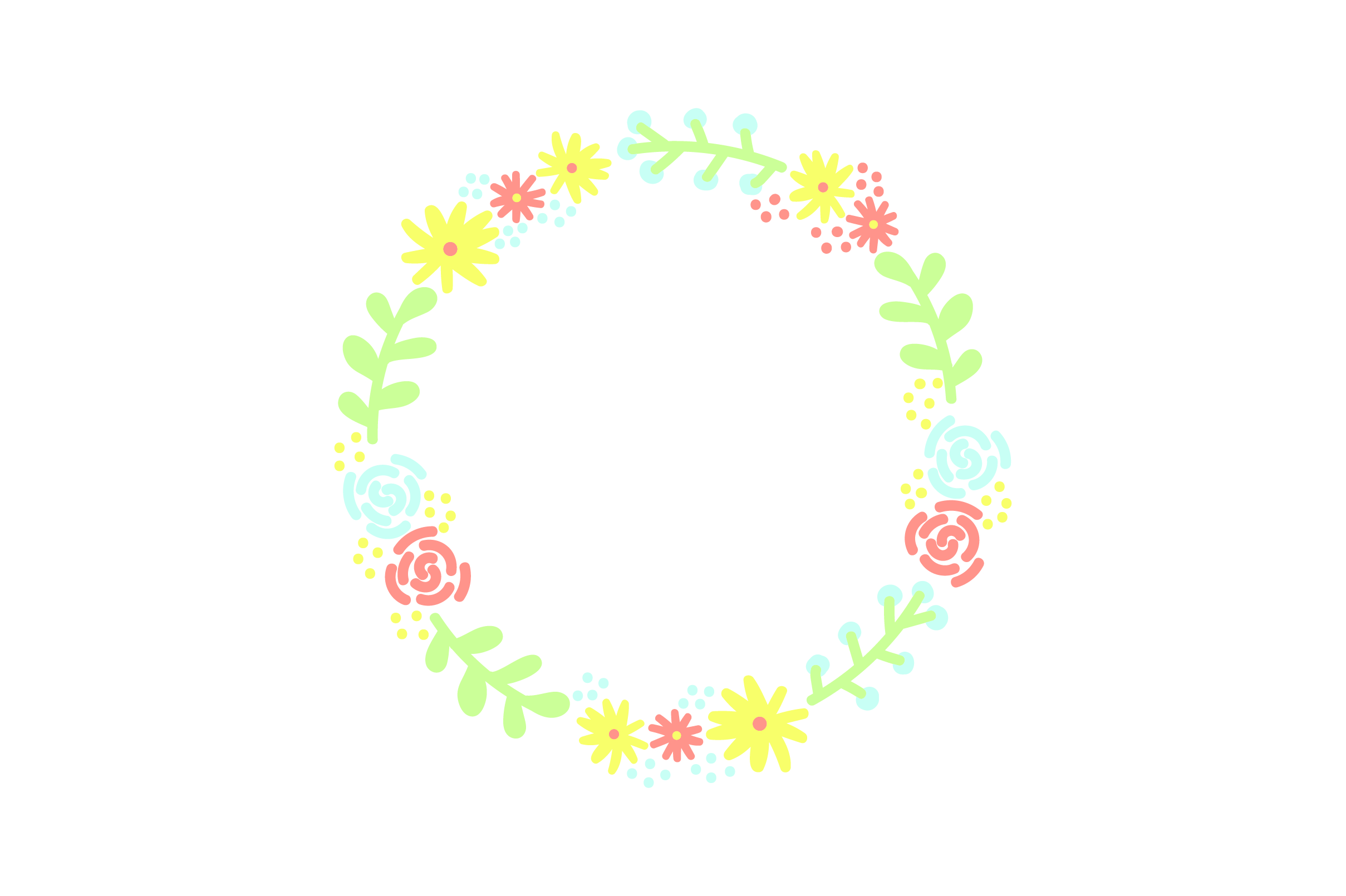 Download Free Cute Flower Wreath Svg Cut File By Creative Fabrica Crafts for Cricut Explore, Silhouette and other cutting machines.