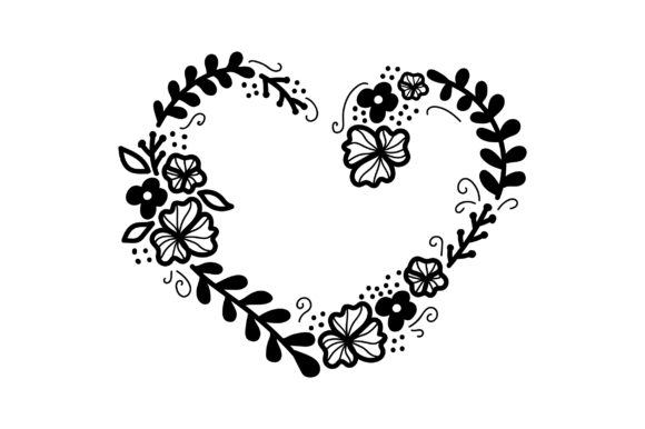 Download Free Heart Shaped Flower Wreath Svg Cut File By Creative Fabrica for Cricut Explore, Silhouette and other cutting machines.