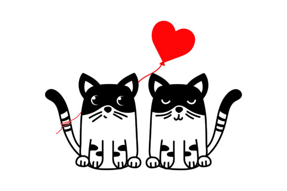 Lover Cats Valentine's Day Craft Cut File By Creative Fabrica Crafts