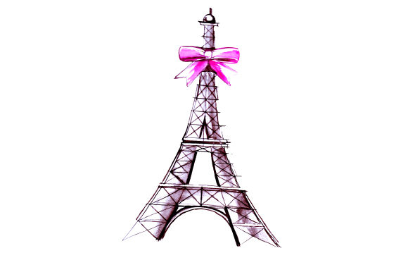 Eiffel Tower with Red Bow in Sketch Art Style San Valentín Archivo de Corte Craft Por Creative Fabrica Crafts