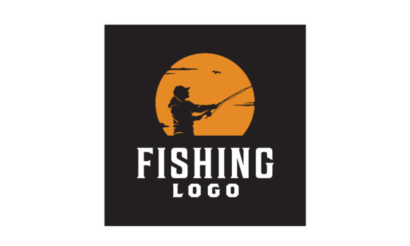 Print on Demand: Angler Fishing Sunset Silhouette Logo Grafik Logos von Enola99d