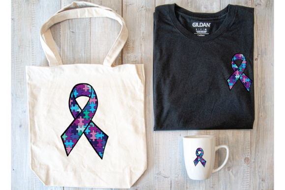 Print on Demand: Autism Awareness Ribbon Purple and Blue Graphic Print Templates By Angela Wheeland