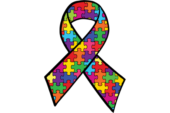 Print on Demand: Autism Awareness Ribbon Rainbow SVG Graphic Print Templates By AM Digital Designs